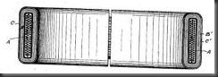 Горизонтальный центральный поперечный разрез преобразователя, показанного на рис. 1